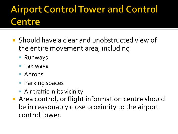Airport control tower and control centre