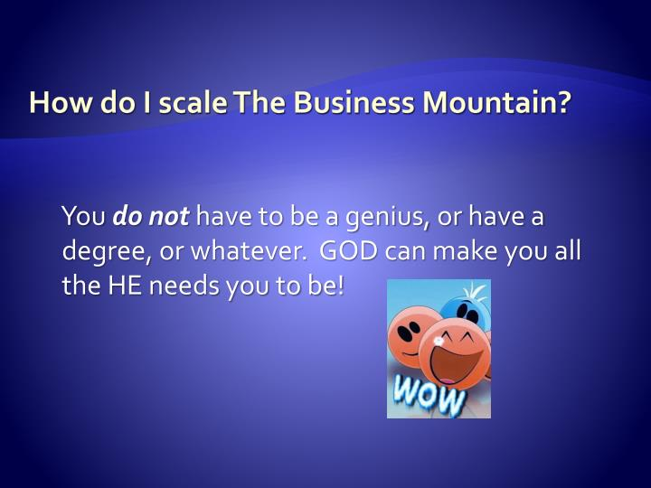 How do i scale the business mountain
