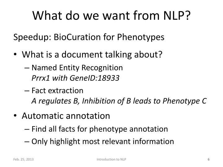 What do we want from NLP?