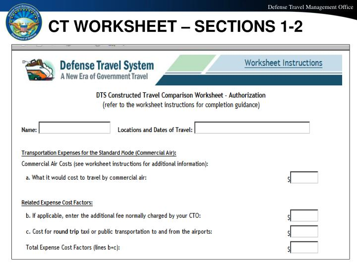 PPT T200 CONSTRUCTED TRAVEL IN DTS PowerPoint Presentation ID – Cost Comparison Worksheet Dts