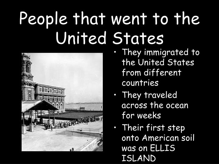 People that went to the united states