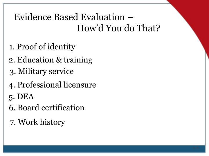 Evidence Based Evaluation –