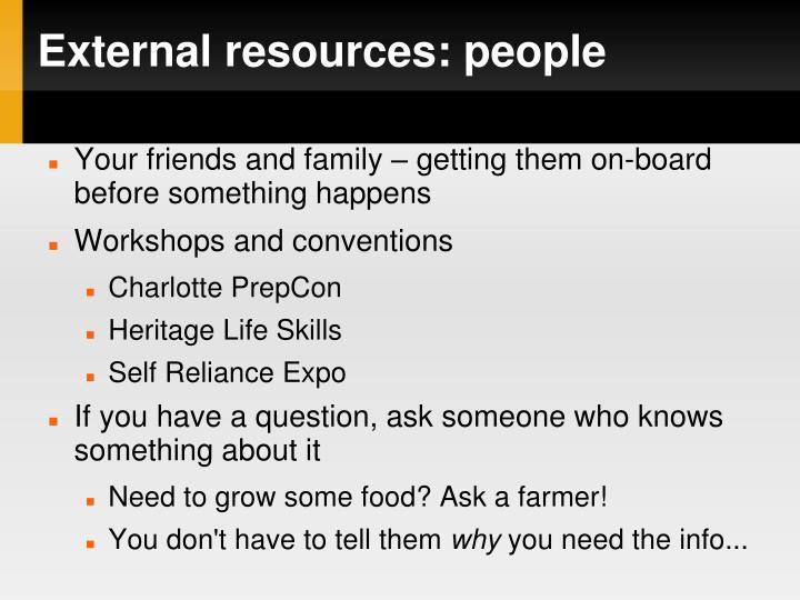 External resources: people
