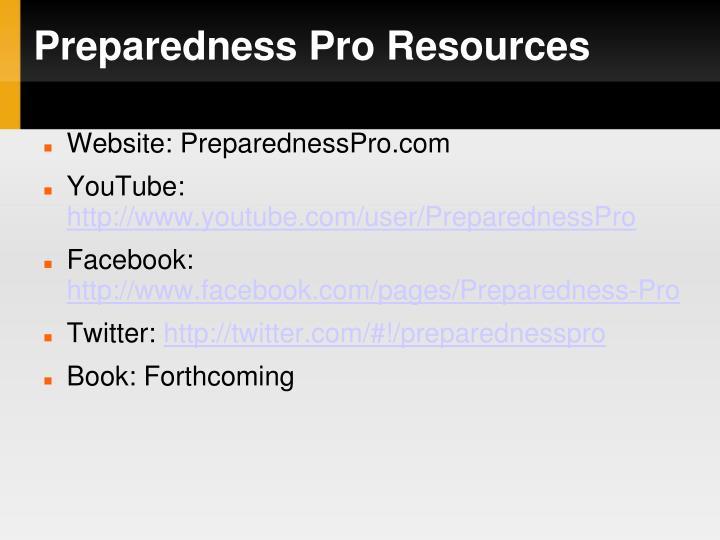 Preparedness Pro Resources