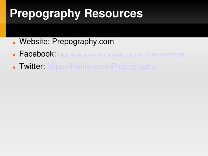 Prepography Resources