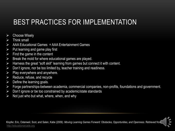 Best Practices for implementation