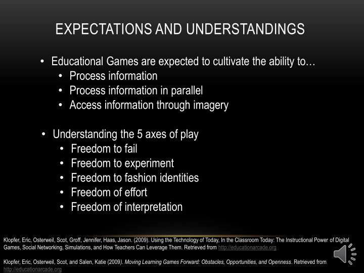 Expectations and Understandings