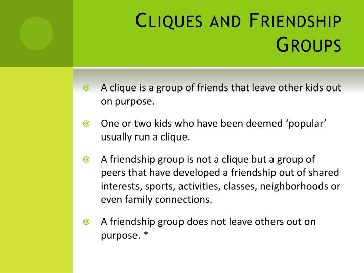 Cliques and Friendship Groups