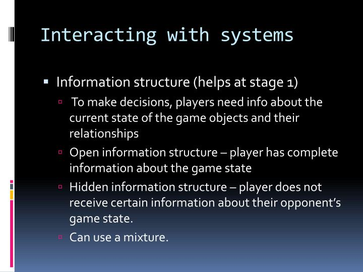 Interacting with systems