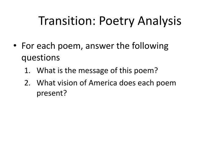 Transition: Poetry Analysis