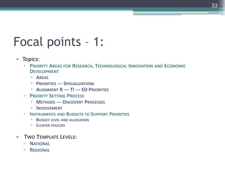 Focal points – 1: