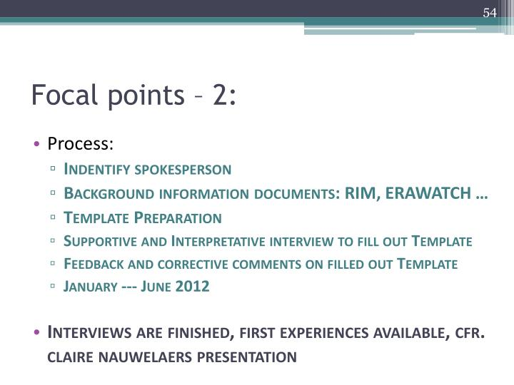 Focal points – 2: