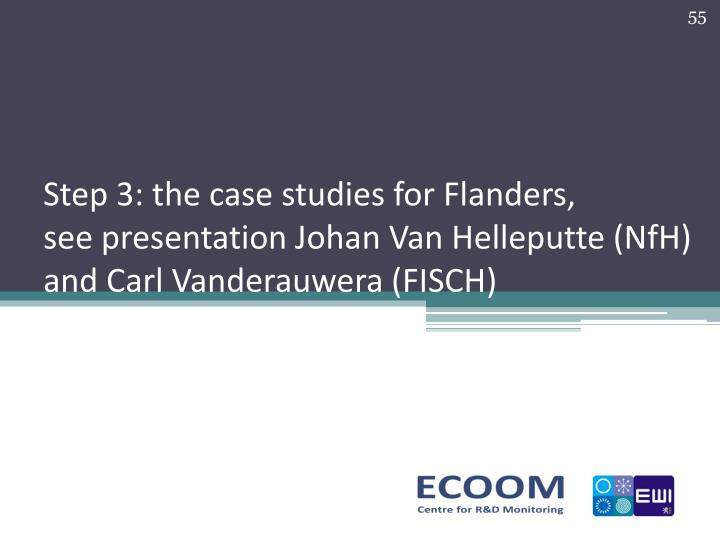 Step 3: the case studies for Flanders,