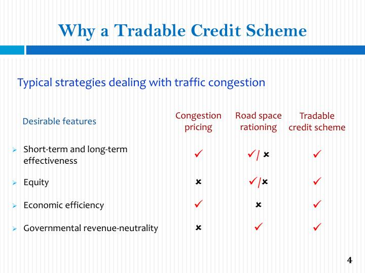 Why a Tradable Credit Scheme