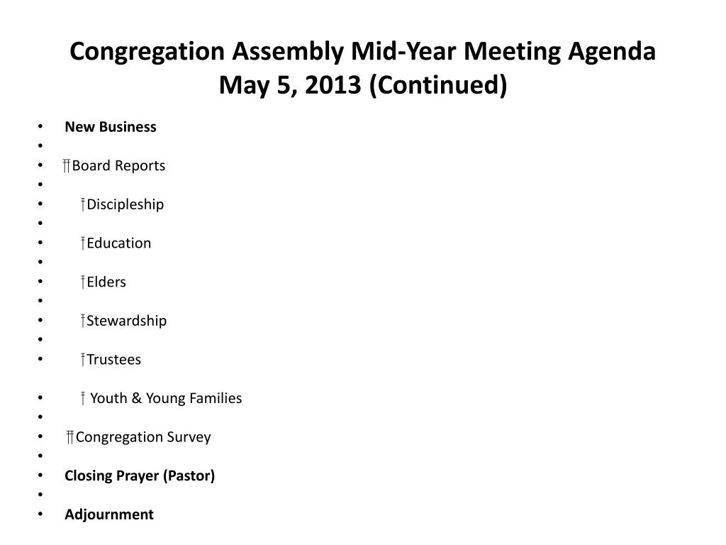 PPT - Congregation Assembly Mid-Year Meeting Agenda May 5