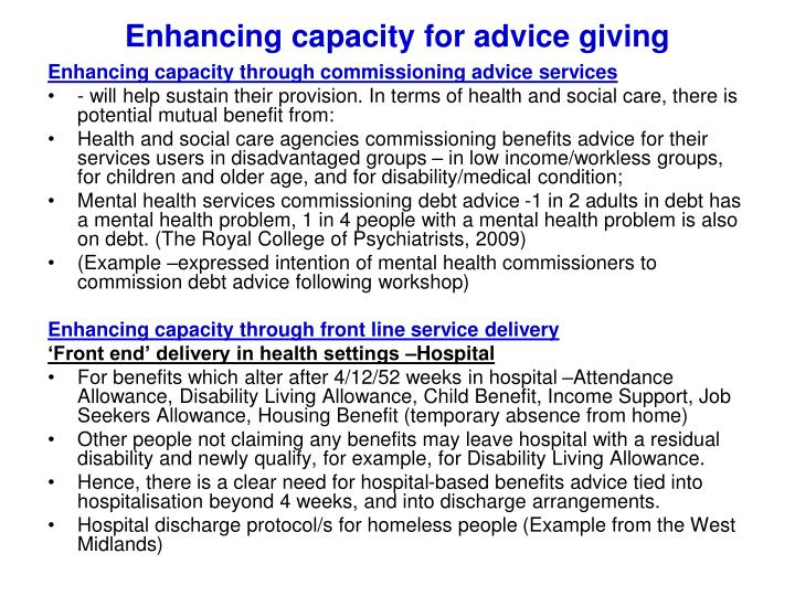 Enhancing capacity for advice giving