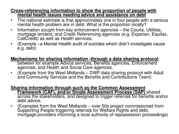 Cross-referencing information to show the proportion of people with mental health issues needing advice and assistance on debt