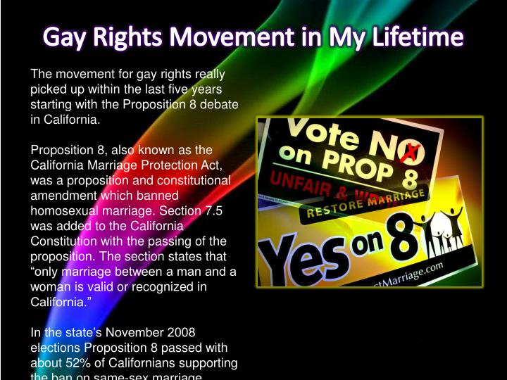 Gay Rights Movement in My Lifetime