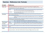 exercise reference list formats