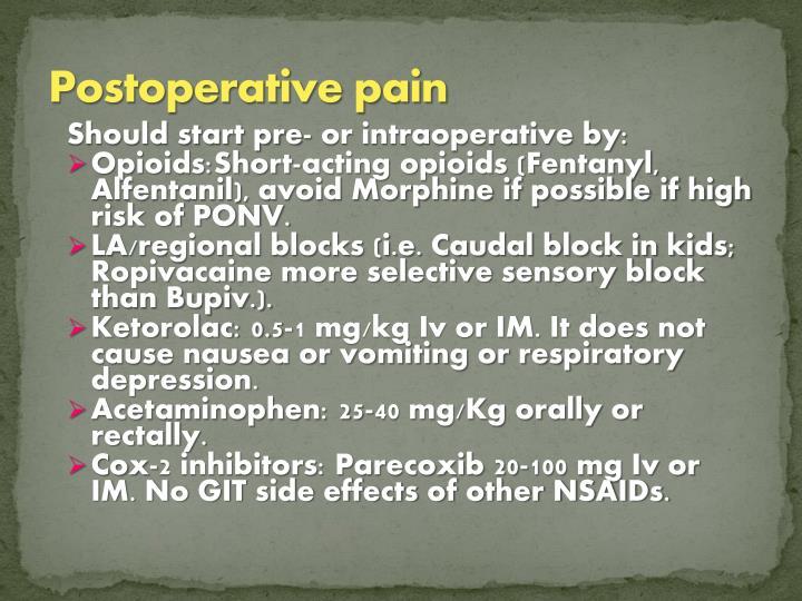 Postoperative pain