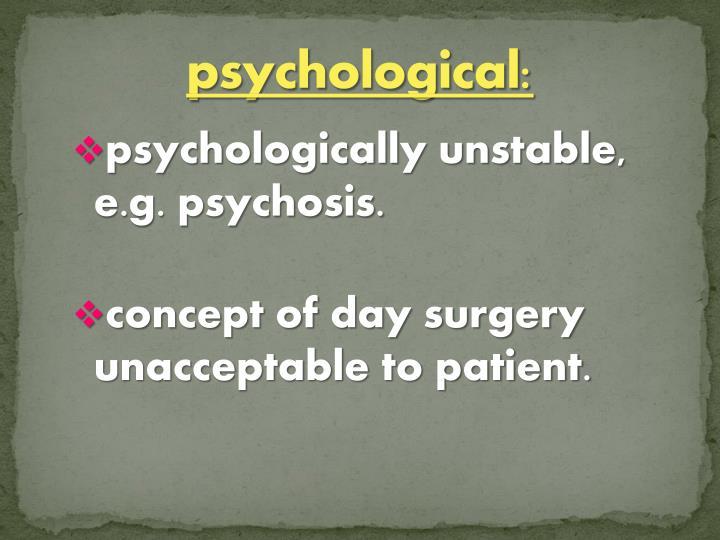 psychological: