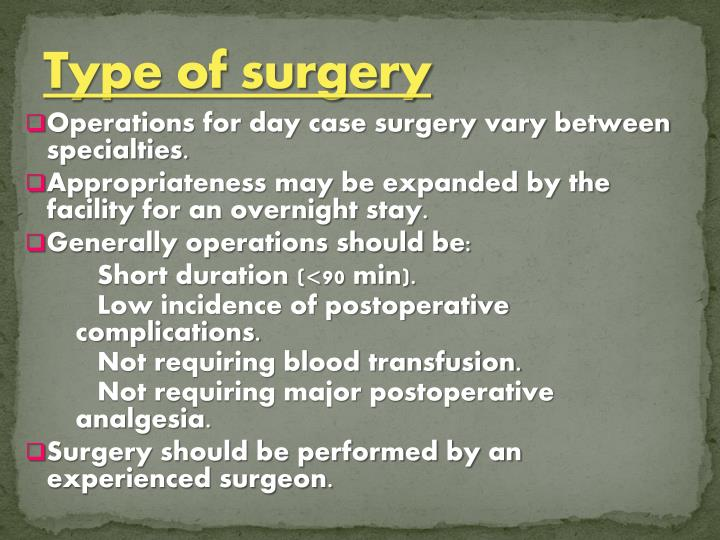 Type of surgery