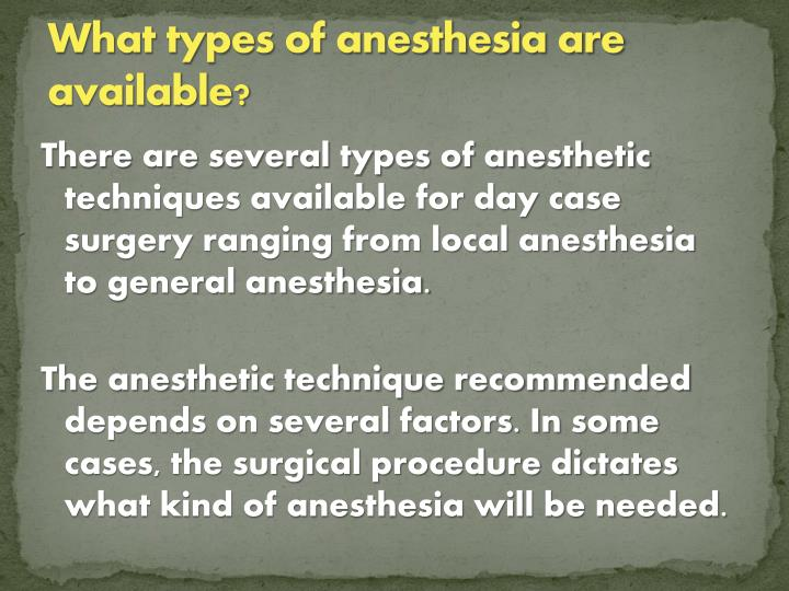 What types of anesthesia are available?