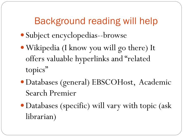 Background reading will help