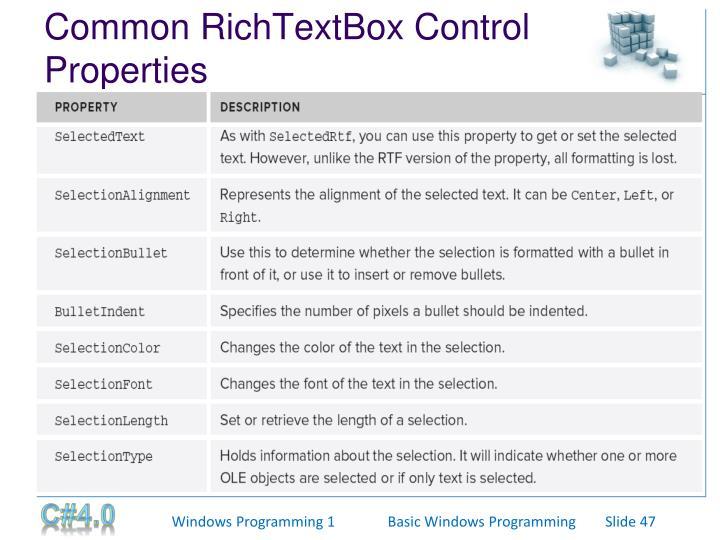 Common RichTextBox Control Properties