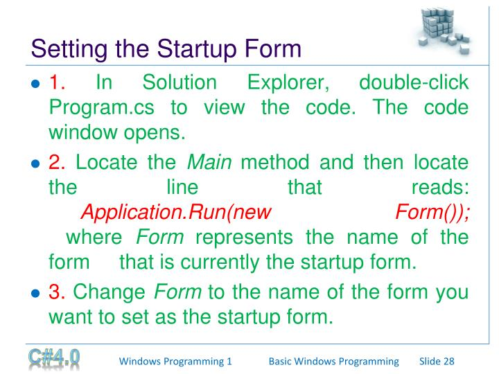 Setting the Startup Form