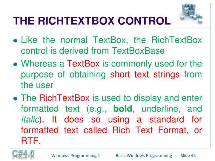 THE RICHTEXTBOX CONTROL