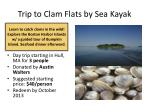 trip to clam flats by sea kayak