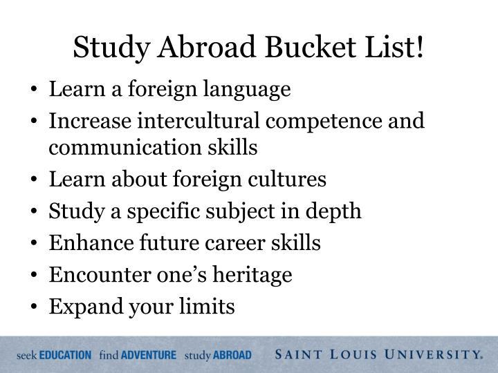 Study Abroad Bucket List!