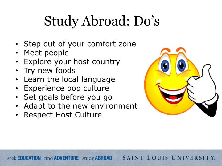 Study Abroad: Do's