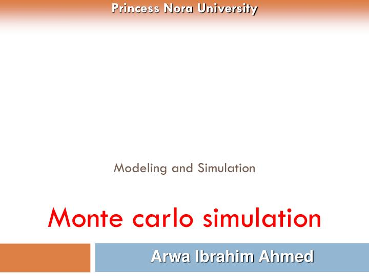 modeling and simulation monte carlo simulation n.