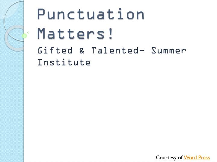 punctuation matters n.