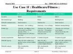 use case 1f healthcare fitness requirements