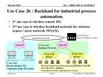 use case 2b backhaul for industrial process automation