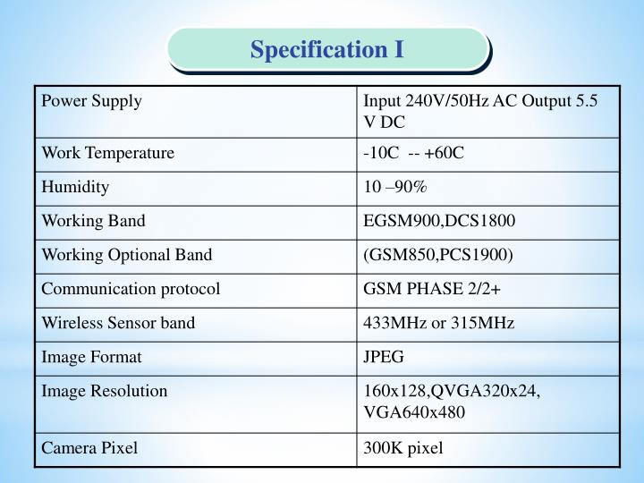 Specification I
