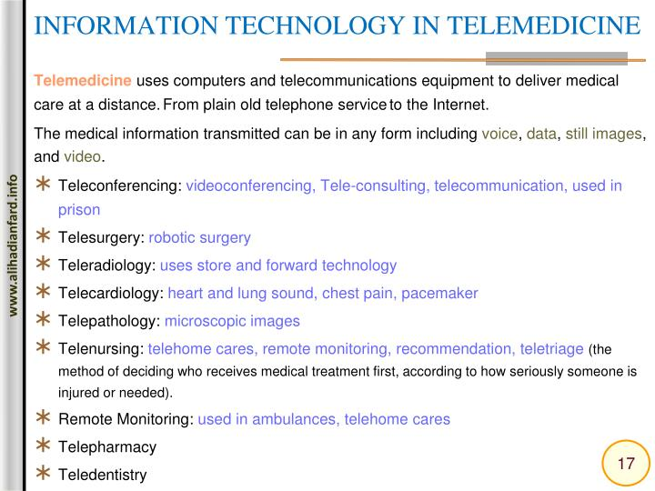 INFORMATION TECHNOLOGY IN TELEMEDICINE