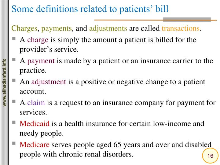 Some definitions related to patients' bill