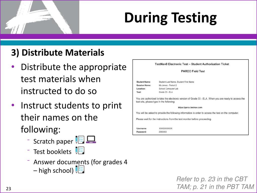 PPT - PARCC Field Test Preparation for Test Administrators/Teachers