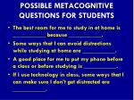 possible metacognitive questions for students