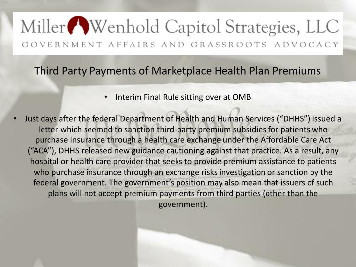 Third Party Payments of Marketplace Health Plan Premiums