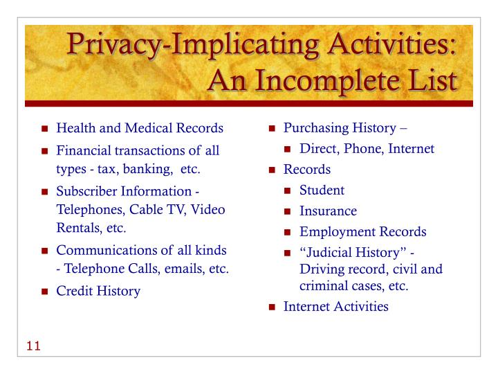 Privacy-Implicating Activities: