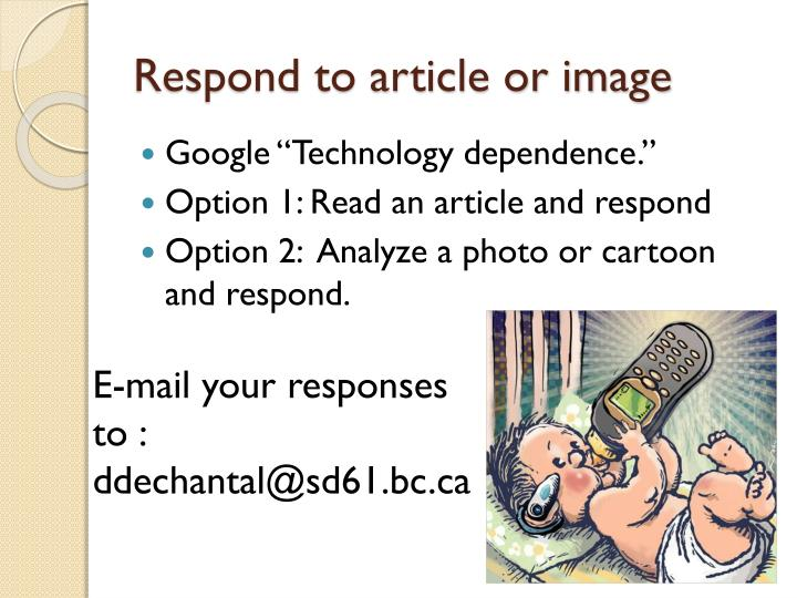 Respond to article or image