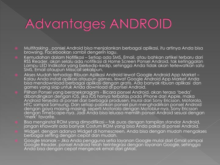 Advantages ANDROID