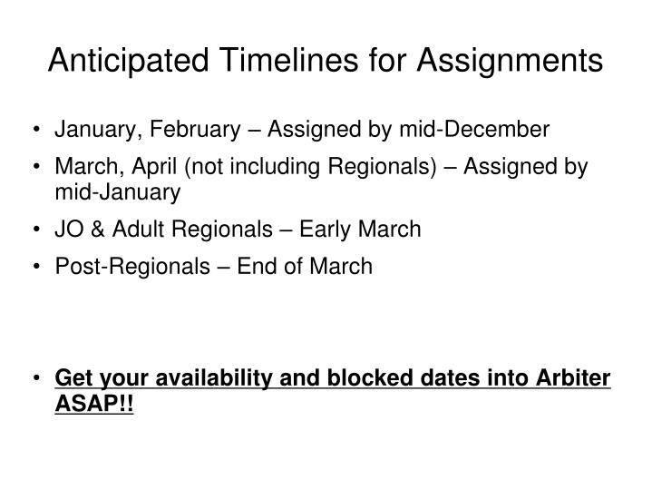Anticipated Timelines for Assignments