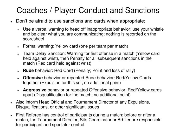 Coaches / Player Conduct and Sanctions