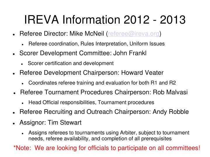 IREVA Information 2012 - 2013